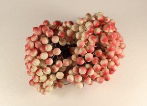 `Ягоды 10 мм (длина 16см), цвет бело-красный, 1 уп = 40 ягодок ( 20 веточек)