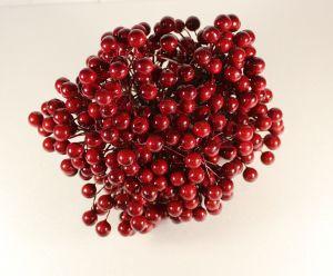 `Ягоды 10 мм (длина 16см), цвет темно-красный, 1 уп = 40 ягодок ( 20 веточек)