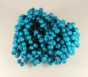 `Ягоды 10 мм (длина 16см), цвет бирюзовый, 1 веточка=2 ягодки