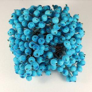 `Ягоды в сахарной обсыпке 12 мм (длина 16см), цвет бирюзовый, 1 веточка=2 ягодки