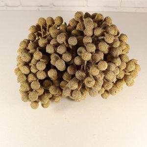 `Ягоды в сахарной обсыпке 12 мм (длина 16см), цвет золото, 1 веточка=2 ягодки