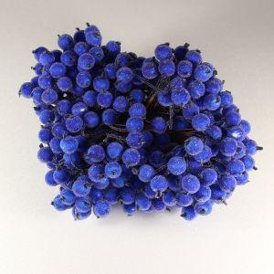 `Ягоды в сахарной обсыпке 12 мм (длина 16см), цвет синий изморозь, 1 веточка=2 ягодки