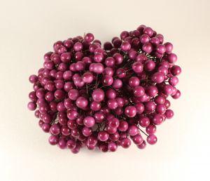 `Ягоды 10 мм (длина 16см), цвет фуксия, 1 веточка=2 ягодки