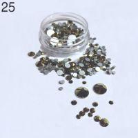 Стразы в баночке разноразмерные №25 бронза, 150 шт