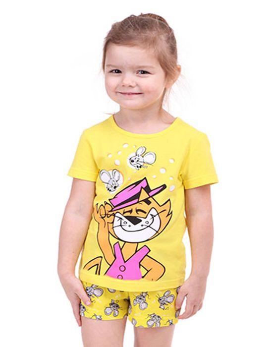 Желтая пижама для девочки 1-2 лет