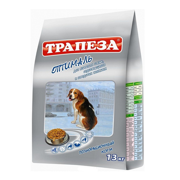 """Корм Трапеза """"Оптималь"""" с говядиной для взрослых собак, склонных к полноте 10кг"""