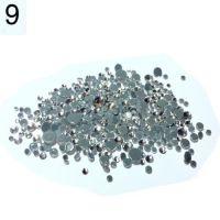 Стразы разноразмерные в пакетике №9 серебро, 360 шт