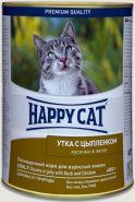 Happy Cat Утка с цыпленком, кусочки в желе (400 г)