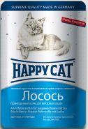 Happy Cat Лосось, кусочки в крем-соусе с зеленью (пауч 100 г)