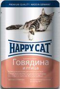 Happy Cat Говядина и птица, кусочки в соусе (пауч 100 г)