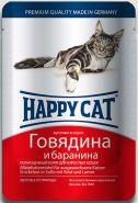 Happy Cat Говядина и баранина, кусочки в соусе (пауч 100 г)
