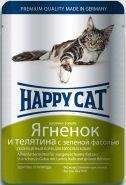 Happy Cat Ягненок и телятина с зеленой фасолью, кусочки в желе (пауч 100 г)