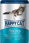 Happy Cat Лосось и креветки, кусочки в желе (пауч 100 г)