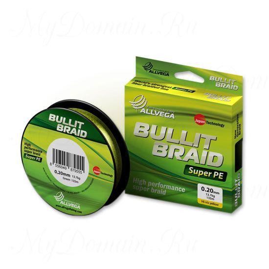 Плетеный шнур Allvega Bullit Braid 135M Hi-Vis Yellow 0,24mm