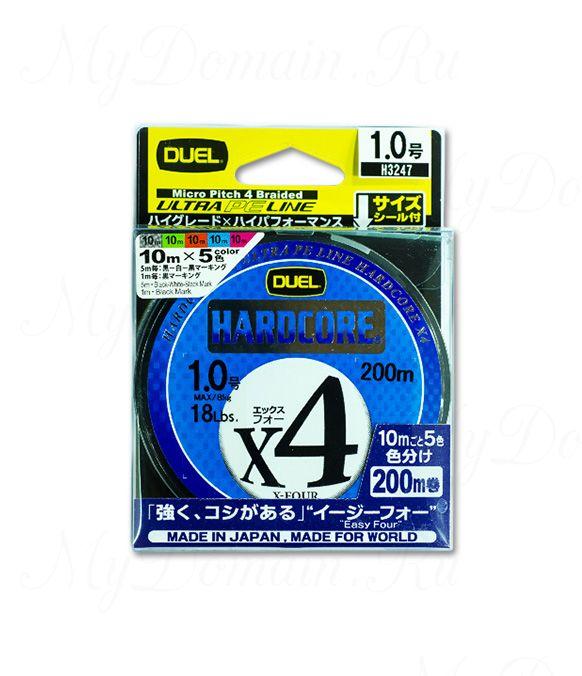 Плетеный Шнур Duel PE Hardcore X4 Cast 200m 4Color #2.0 (0.242mm) 13.0kg