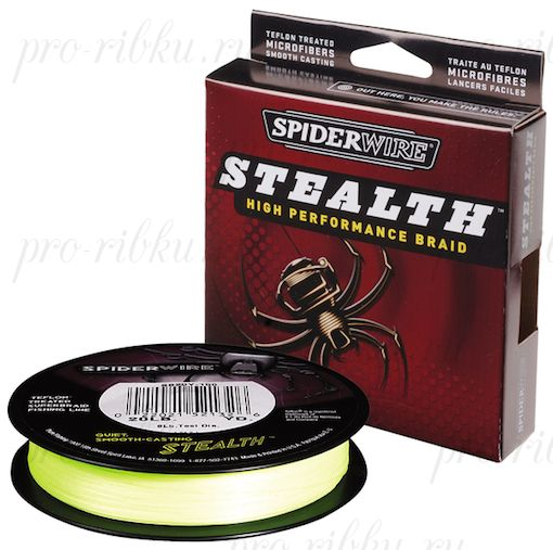 Плетеный шнур Spiderwire Stealth Yellow1820m 0,12mm 7.1kg