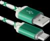Распродажа!!! USB кабель USB08-03LT USB2.0 зеленый, LED, AM-MicroBM, 1м