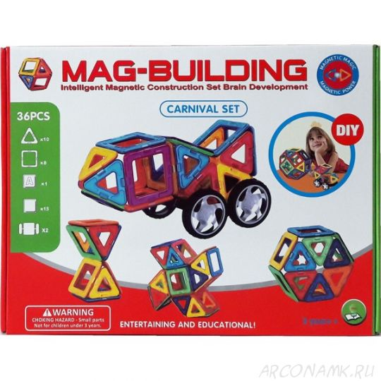 Детский магнитный конструктор Mag Building (36 деталей)
