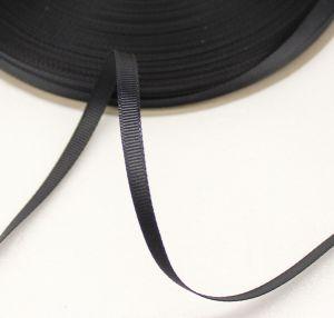 Лента репсовая однотонная 06 мм, длина 25 ярдов, цвет: черный