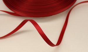 Лента репсовая однотонная 06 мм, длина 25 ярдов, цвет: бордовый