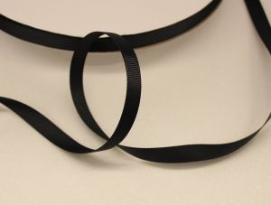 Лента репсовая однотонная 09 мм, длина 25 ярдов, цвет: черный