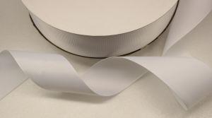 Лента репсовая однотонная 38 мм, длина 25 ярдов, цвет: белый