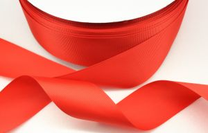 Лента репсовая однотонная 38 мм, длина 25 ярдов, цвет: красный
