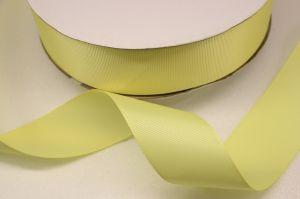 Лента репсовая однотонная 38 мм, длина 25 ярдов, цвет: светло-желтый