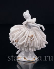 Танцующая девочка, кружевная миниатюра, Volkstedt, Германия