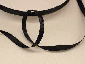 `Лента репсовая однотонная 09 мм, цвет: черный