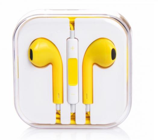 Наушники вакуумные - гарнитура Apple (желтый)