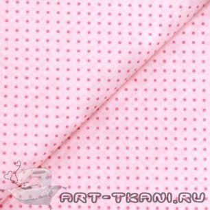 Ткань хлопок розовые точки на розовом