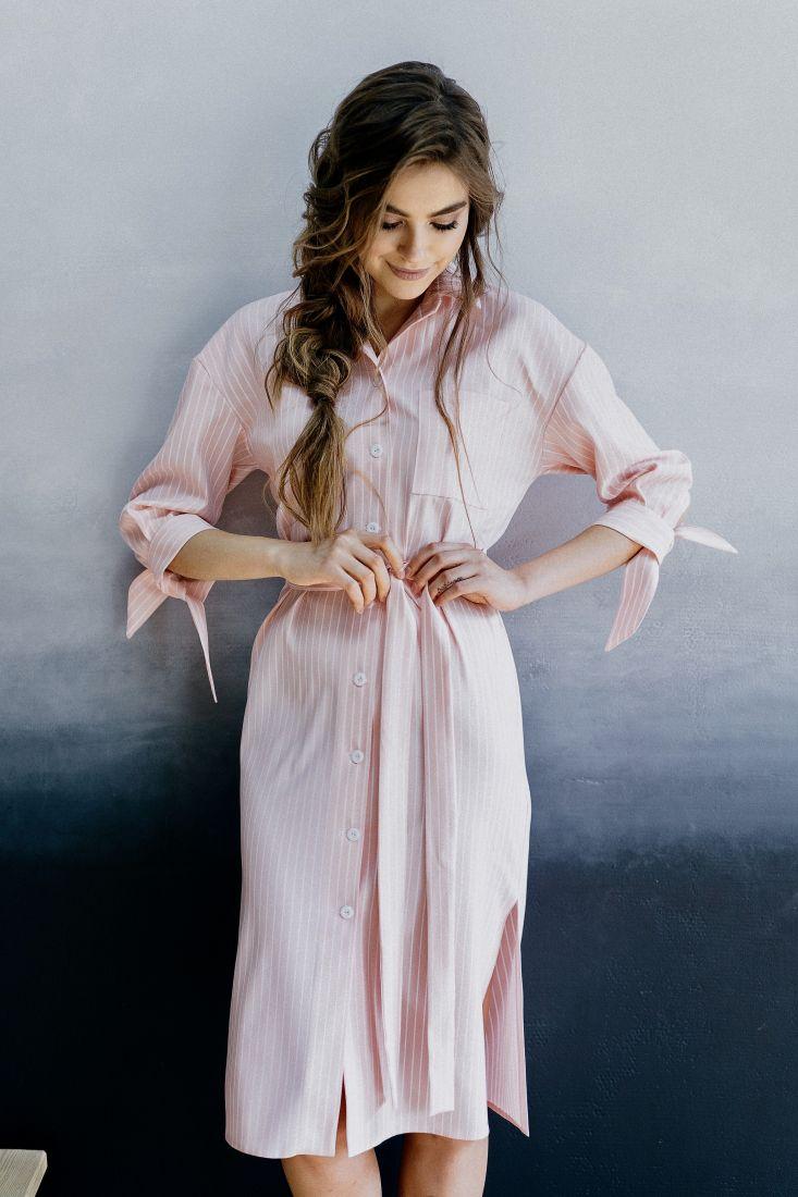 m337 Платье-рубашка розовая в полоску