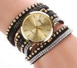 Стильные наручные часы с двойным оборотом ремешка Geneva со стразами (арт. 460102)