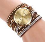 Стильные наручные часы с двойным оборотом ремешка Geneva со стразами (арт. 460103)