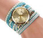 Стильные наручные часы с двойным оборотом ремешка Geneva со стразами (арт. 460106)