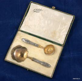 Набор для десерта в кофре, столовое серебро. Франция, кон.19 в.