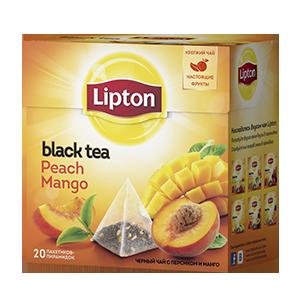Чай Липтон черный Персик-Манго с (пирамидки) 2г 20пак.