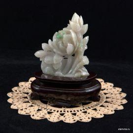 "Ручная резьба по камню ""Пион"", нефрит, Китай"