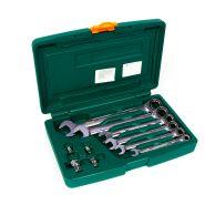 W45110S Набор комбинированных трещоточных ключей 8-19 мм. и адаптеров JONNESWAY 10 предметов