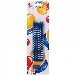 Свечи длинные синие 15 см в горошек