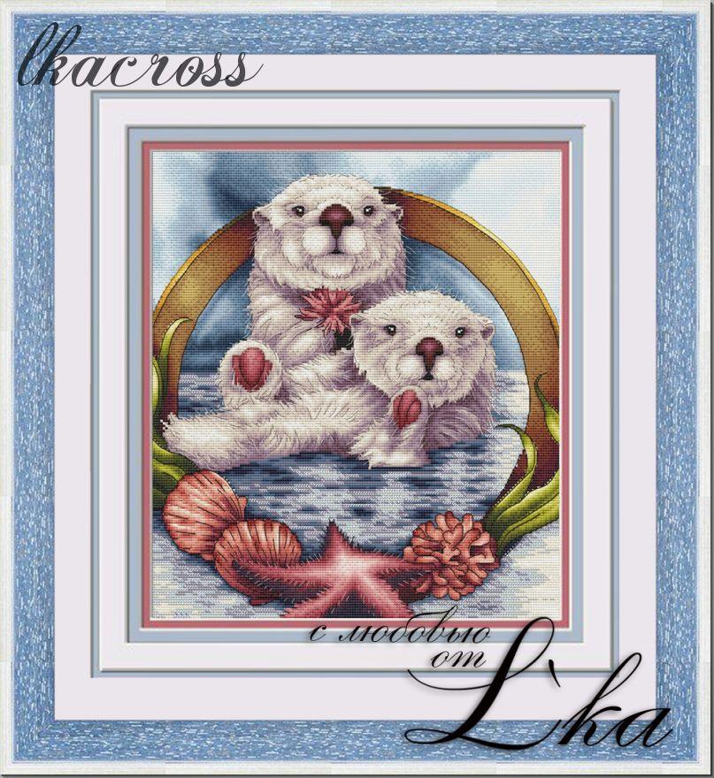 """Otters"". Digital cross stitch pattern."