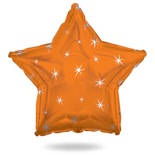 Звезда оранжевая с искорками шар фольгированный с гелием