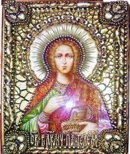 """Икона """"Святой великомученик и целитель Пантелеймон"""" 18 х 23 см, роспись по дереву"""