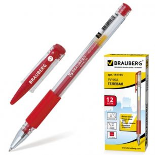 """Ручка гелевая BRAUBERG """"Number One"""" (БРАУБЕРГ """"Номер один""""), корпус прозрачный, 0,5 мм, резиновый держатель, красная, 141195"""