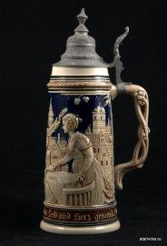 Старинная керамическая пивная кружка 1л, Германия, ок. 1900 г
