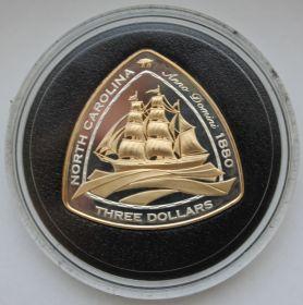 Корабль Северная Каролина 3 доллара Бермуды 2006 серебро с позолотой