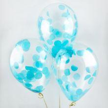 Гелиевый шар с конфетти голубой