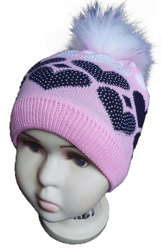 зд1051-4758 Шапка вязаная сердечки помпон стразы розовая с темно-синим