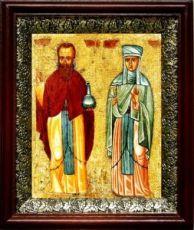 Андроник Антиохийский и Афанасия (19х22), темный киот